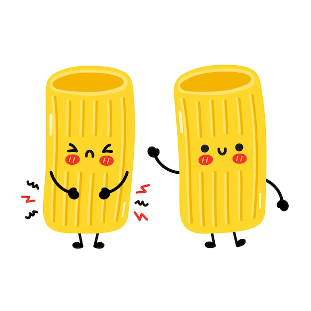 Simpatico personaggio di pasta maccheroni triste e felice divertente. illustrazione disegnata a mano del carattere di kawaii del fumetto di vettore. isolato su sfondo bianco. carino maccheroni tagliatelle pasta fumetto mascotte concept