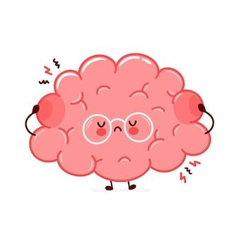 Carattere di organo del cervello umano triste divertente carino. icona di illustrazione di carattere kawaii del fumetto di linea piatta. isolato su sfondo bianco. concetto di carattere di stress dell'organo cerebrale