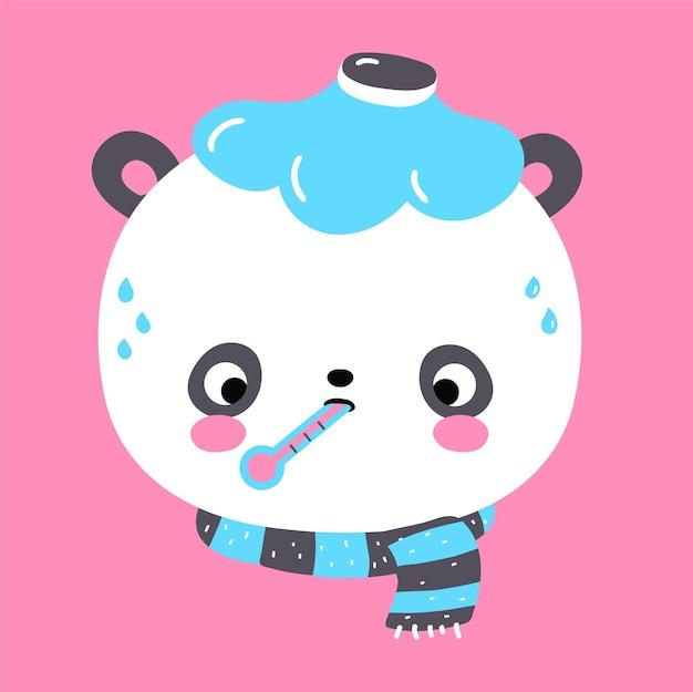 Simpatico orsetto panda divertente triste malata influenza. icona di vettore piatto fumetto kawaii carattere illustrazione. simpatico personaggio dei cartoni animati dell'orso panda, bambino malato di influenza, concetto di bambino malato