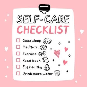Carino divertente selfcare per fare la lista, lista di controllo.