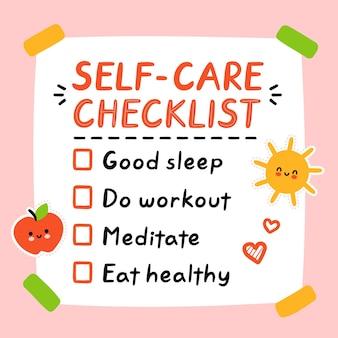 Carino divertente selfcare per fare la lista, lista di controllo