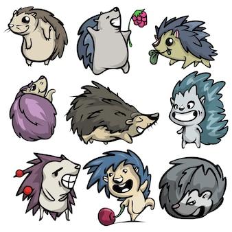 Simpatico set divertente di carattere riccio in diverse azioni umoristiche. stile cartone animato.