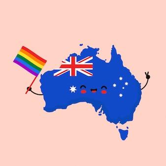 Carattere di mappa e bandiera felice sorridente divertente carino australia con bandiera gay lgbt arcobaleno. personaggio dei cartoni animati. australia diritti umani. lgbtq. concetto di orgoglio gay