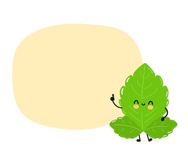 Simpatico personaggio di foglie di stevia divertente con casella di testo. icona dell'illustrazione del personaggio di kawaii del fumetto piatto semplice disegnato a mano di vettore. isolato su sfondo bianco. concetto di personaggio dei cartoni animati di foglie di zucchero di stevia