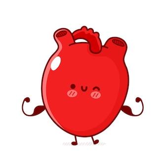 Simpatico e divertente forte organo del cuore umano mostra muscolo