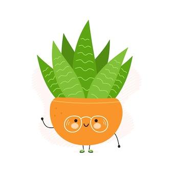 Simpatico personaggio divertente succulento in vaso