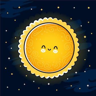 Carino divertente sole nello spazio.