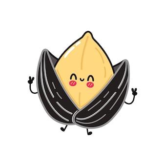 Simpatico personaggio divertente di semi di girasole