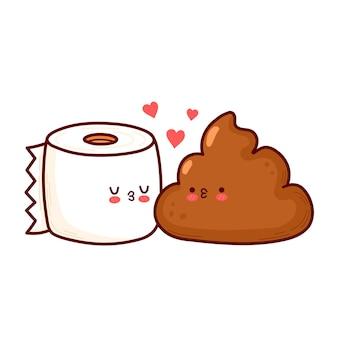 Carina carta igienica divertente e cacca. carta di buon san valentino. icona dell'illustrazione del personaggio di kawaii del fumetto di linea piatta di vettore. isolato su sfondo bianco. il giorno di san valentino cacca e rotolo di carta igienica concept