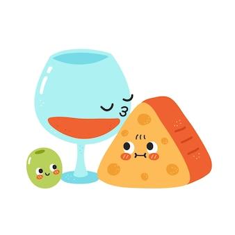 Simpatico bicchiere di vino divertente bacio formaggio