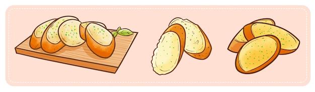 Tre immagini di pane all'aglio gustose e divertenti pronte da mangiare