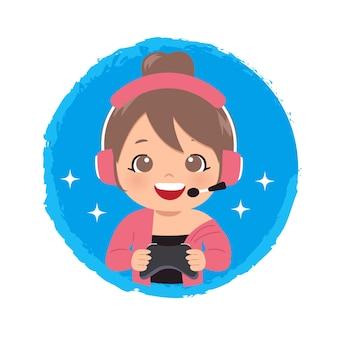 Logo della ragazza sveglia del giocatore che tiene un joystick per giocare ai giochi online
