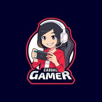 Ragazza sveglia del giocatore che gioca il modello di logo dei giochi mobili
