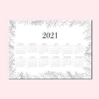 Calendario orizzontale dell'illustrazione blu della foglia sveglia del giardino