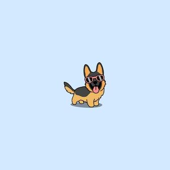 Simpatico cucciolo di pastore tedesco con occhiali da sole cartone animato, illustrazione vettoriale