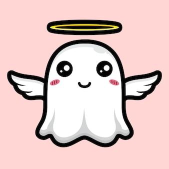 Simpatico disegno del personaggio di un angelo fantasma