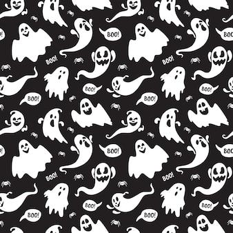 Simpatico fantasma boo vacanza personaggio senza cuciture stile piano design illustrazione vettoriale set