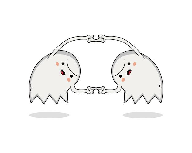 Simpatico personaggio dei cartoni animati fantasma si uniscono