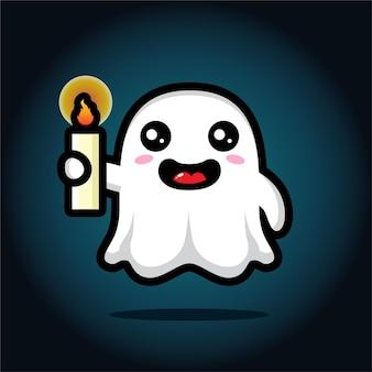 Simpatico personaggio fantasma che porta candela