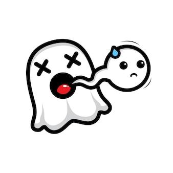 Il simpatico personaggio fantasma muore e lo spirito esce dalla bocca