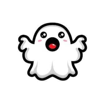 Il simpatico personaggio fantasma sta posando in modo spaventoso