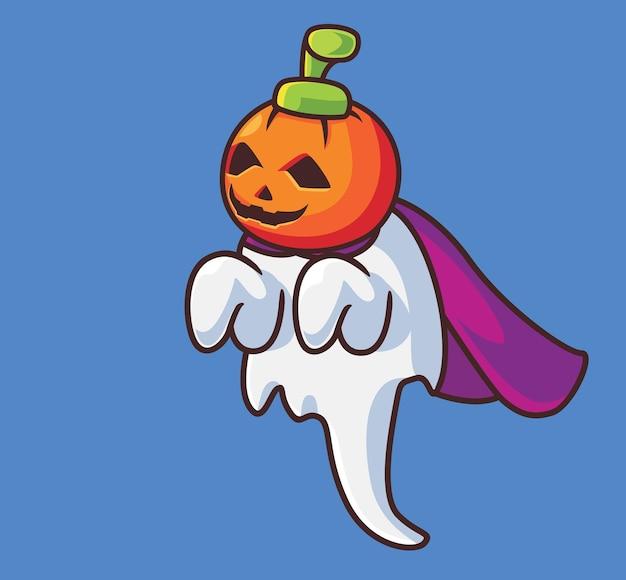 Costume da fantasma carino con zucca illustrazione di tecnologia animale del fumetto isolato stile piatto
