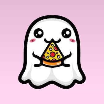 Simpatico disegno fantasma che mangia pizza