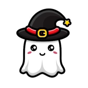 Simpatico design fantasma che indossa un cappello da strega Vettore Premium