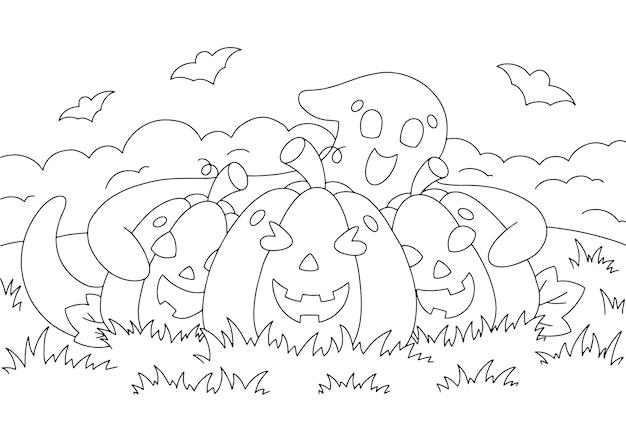 Il fantasma carino abbraccia le zucche pagina del libro da colorare per i bambini tema di halloween