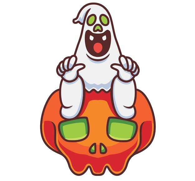 Simpatico fantasma seduto su un teschio gigante fumetto isolato illustrazione di halloween stile piatto adatto