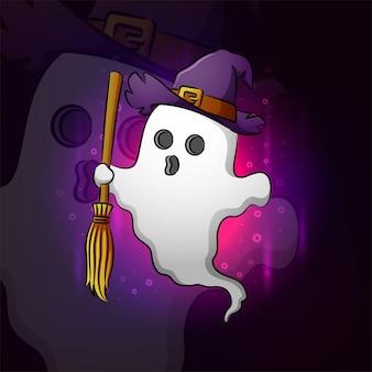 La simpatica strega fantasma con la scopa esport logo design dell'illustrazione
