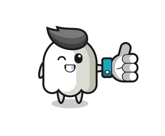 Fantasma carino con simbolo del pollice in alto dei social media, design in stile carino per t-shirt, adesivo, elemento logo