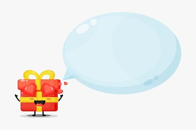 Mascotte di scatole regalo carino con discorso bolla