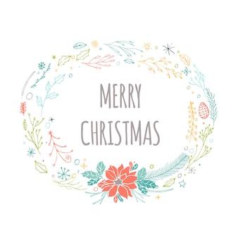 Simpatiche carte regalo con ghirlanda, regali e scritte natalizie disegnate a mano. può essere utilizzato come poster con citazione, design di t-shirt o elemento di arredo per la casa. tipografia vettoriale. modello facilmente modificabile.