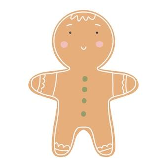 Biscotto carino omino di pan di zenzero. decorazione di felice anno nuovo. buon natale vacanza. capodanno e festa di natale.