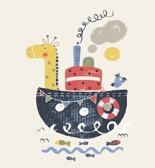 La giraffa e l'uccello svegli sull'illustrazione disegnata a mano di vettore del fumetto della nave può essere usata per il bambino