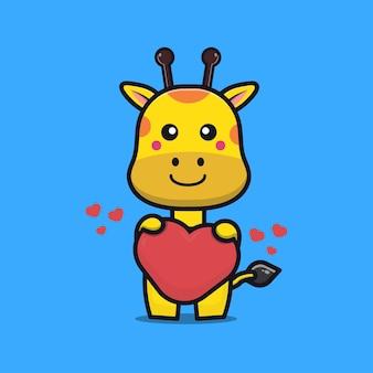 Simpatico cartone animato giraffa abbraccio amore cuore kawaii animale