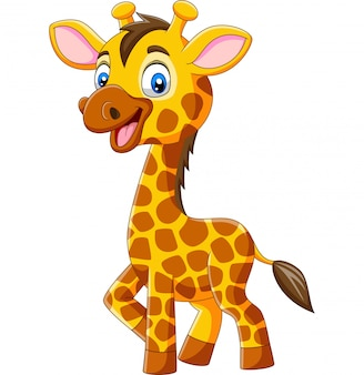 Cartone animato carino giraffa isolato su sfondo bianco