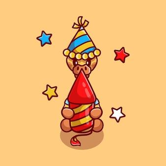 Giraffa carina che festeggia il nuovo anno con un razzo di fuochi d'artificio