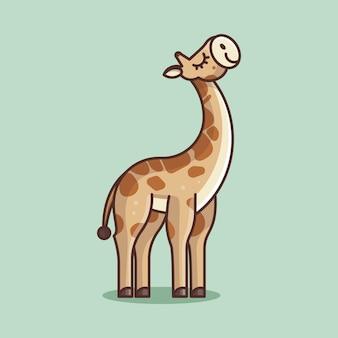 Simpatica giraffa per adesivo logo icona e illustrazione icon