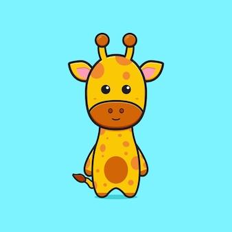 Illustrazione sveglia dell'icona del fumetto del carattere della mascotte della giraffa. design piatto isolato in stile cartone animato
