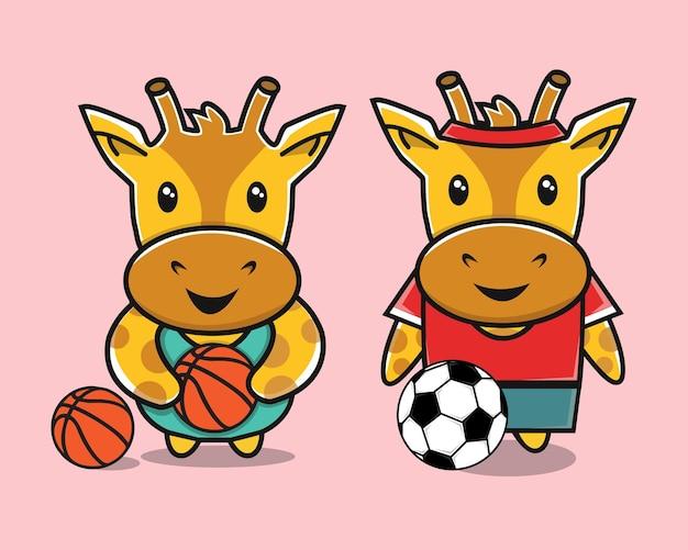 Giraffa carina che gioca a calcio e cartone animato di canestro