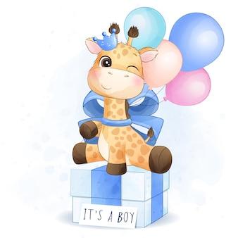 Giraffa sveglia che si siede nell'illustrazione del contenitore di regalo