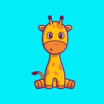 Illustrazione di seduta dell'icona della giraffa sveglia. personaggio dei cartoni animati della mascotte della giraffa. icona animale concetto isolato