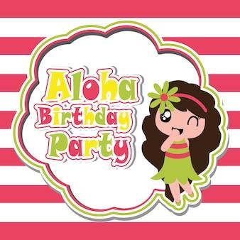 Ragazza carina sul fumetto vettoriale partito di compleanno aloha