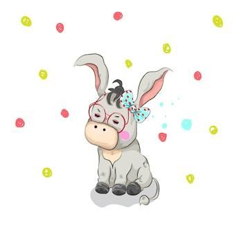 Disegnato a mano sveglio del fumetto dell'asino della ragazza