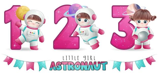 Astronauta ragazza carina con set di illustrazioni di numerazione