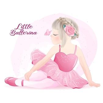 Ballerina ragazza carina con illustrazione dell'acquerello