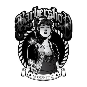 Cute girl barbershop logo