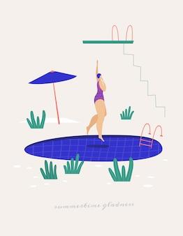 Ragazza sveglia in un costume da bagno che salta nello stagno. attività ricreative vicino all'acqua in estate. illustrazione in stile piatto alla moda.